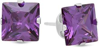 Factory The Bling Square Cut Simulated Purple Amethyst 7mm CZ Sterling Silver Stud Earrings Made in Italy + Cleaning Cloth