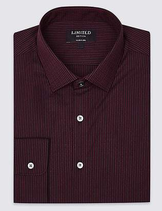 Marks and Spencer Pure Cotton Modern Slim Fit Striped Shirt