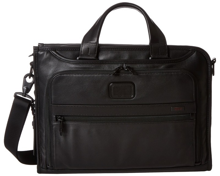 Tumi Tumi - Alpha 2 - Slim Deluxe Leather Portfolio Briefcase Bags