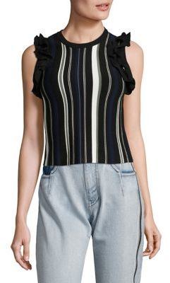 3.1 Phillip Lim Striped Ruffle Sport Tank Top $395 thestylecure.com