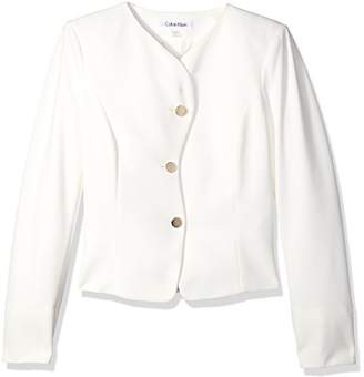 Calvin Klein Women's 3 Button Scuba Crepe Jacket with Curvy Closure