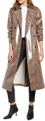 Something Navy Leopard Print Water Resistant Coated Trench Coat