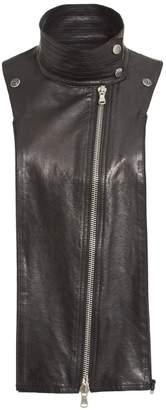 Veronica Beard Lambskin Leather Moto Dickey