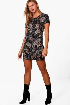 boohoo Floral Print Brushed Knit Shift Dress