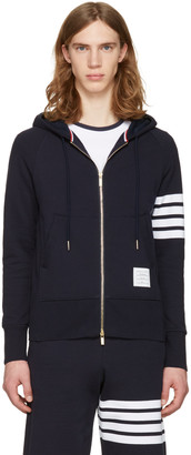 Thom Browne Navy Classic Four Bar Hoodie $725 thestylecure.com
