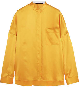 Haider Ackermann - Oversized Silk-satin Shirt - Marigold $945 thestylecure.com