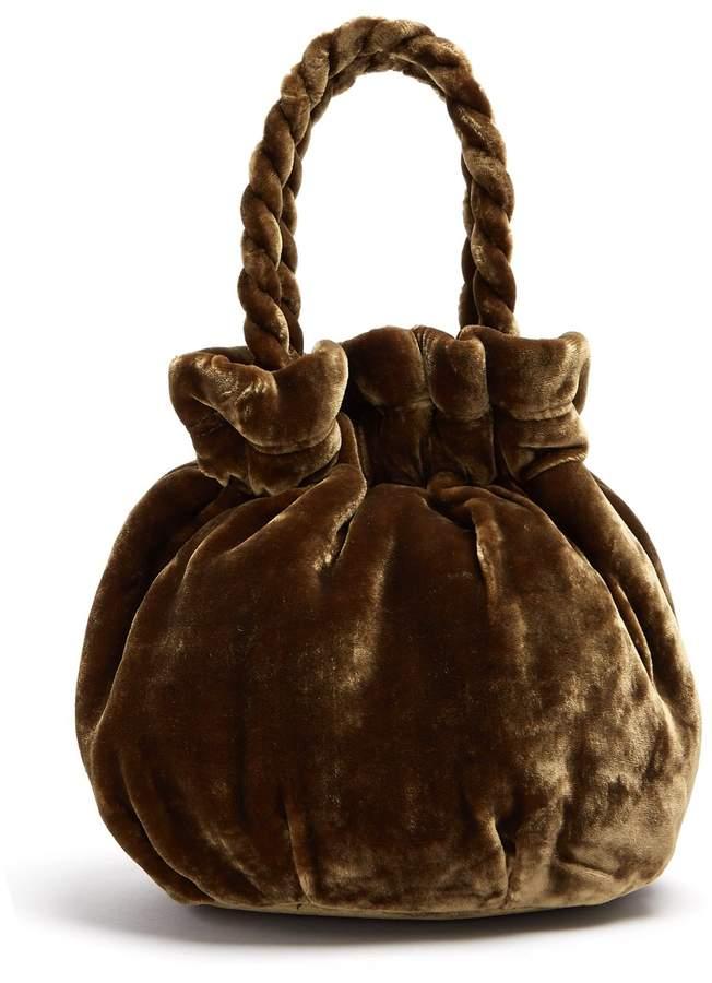 STAUD Grace velvet clutch bag