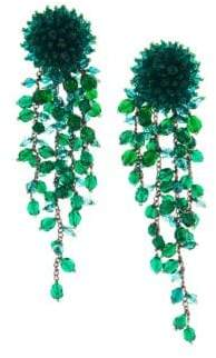 Oscar de la Renta Long Beaded Cascade Clip-On Earrings
