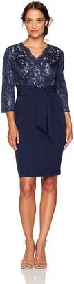 Alex Evenings Women's Petite Short Lace Bodice Dress with Faux Front Tie Belt
