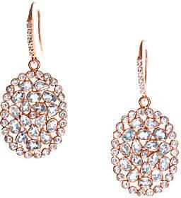 Graziela Gems Blue Topaz Dangle Earrings, Sterl ing/18K Rose