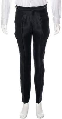 Burberry Flat Front Silk-Blend Pants