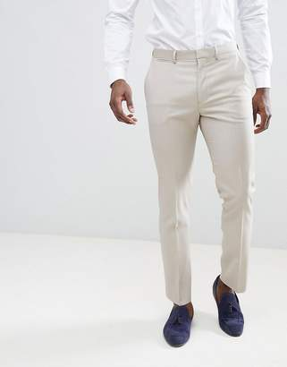 Asos DESIGN Wedding Slim Suit Pants In Stone 100% Wool