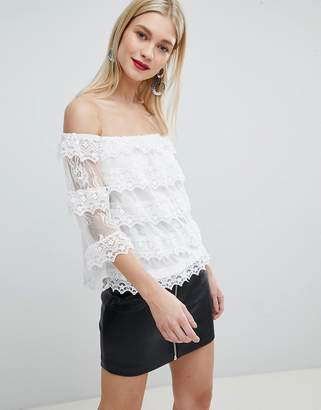 Lipsy tierred lace bardot top
