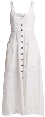 Saloni Fara Broderie Anglaise Cotton Midi Dress - Womens - White