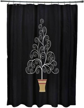 Holiday Essence Filigree Tree Geometric Print Shower Curtain
