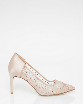 Le Château Embellished Mesh & Satin Pointy Toe Pump