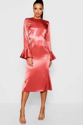 boohoo Satin Flared Sleeve Midi Dress