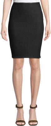 Leon Max Shadow Check Boiled Wool Pencil Skirt