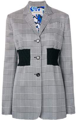 Emilio Pucci fitted waistband plaid blazer