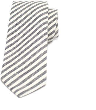 Kathrine Zeren Skinny Charcoal & Cream Stripe Tie