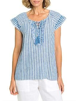 Yarra Trail Short Sleeve Embroided Stripe Blouse