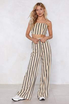 Nasty Gal All the Stripe Reasons Crop Top and Pants Set