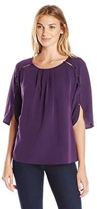 Lark & Ro Women's Three Quarter Length Button Sleeve Billowy Top