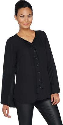 Belle By Kim Gravel Belle by Kim Gravel Woven Blouse with Ruffle Bell Sleeve
