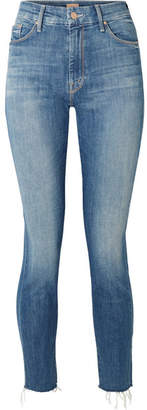 Mother Looker Cropped Frayed High-rise Skinny Jeans