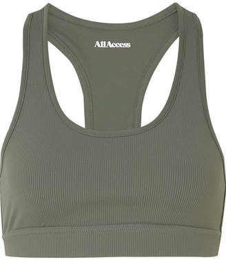 All Access Front Row Ribbed Stretch Sports Bra - Green