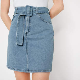 cf93421592 Warehouse Buckle Belt Denim Mini Skirt