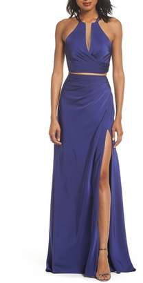 La Femme Strappy Two-Piece Sheath Gown