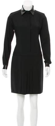 Barbara Bui Leather-Accented Wool Dress