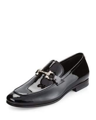Salvatore Ferragamo Funes 2 Patent Leather Gancio Loafer, Black $680 thestylecure.com