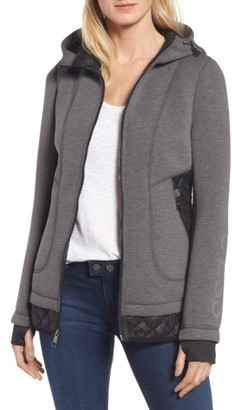 Women's Guess Mixed Media Hooded Jacket $138 thestylecure.com