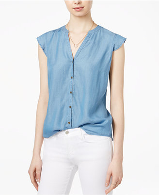 Maison Jules Chambray Flutter-Sleeve Blouse, Only at Macy's $59.50 thestylecure.com
