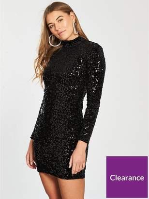 Warehouse Velvet Sequin High Neck Dress