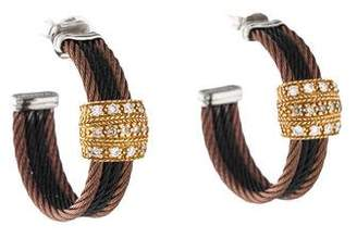 Charriol Diamond Three-Row Cable Hoop Earrings