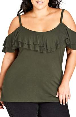 City Chic Romance Ruffle Cold Shoulder Top
