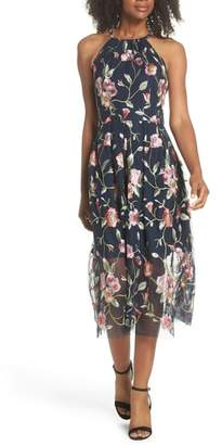 Vince Camuto Embroidered Midi Dress