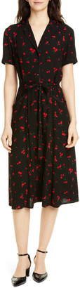 HVN Maria Cherry Print Shirtdress