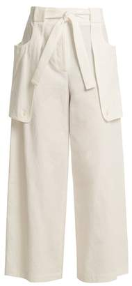 Thom Browne Tie Waist Wide Leg Cotton Trousers - Womens - White