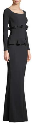 Chiara Boni Erin Long-Sleeve Gown w/ Double Peplum Waist