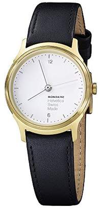 Mondaine Men's 'Helvetica No.1' Quartz Stainless Steel and Black Leather Casual Watch (Model: MH1L1111LB)