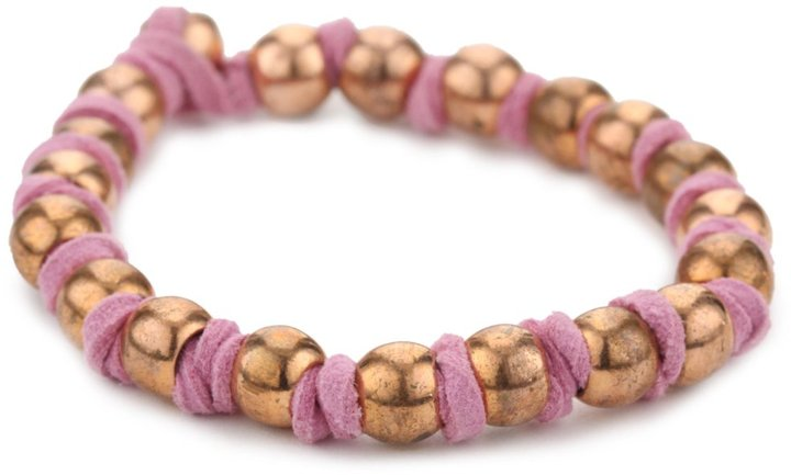 Vanessa Mooney Copper Ball Bead On Knotted Pink Faux Suede Bracelet
