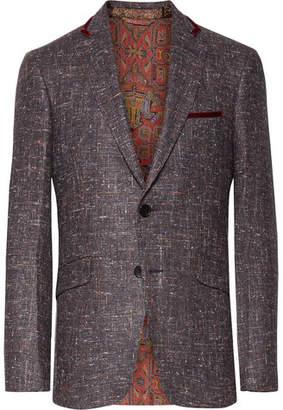 Etro Grape Slim-Fit Velvet-Trimmed Silk, Wool And Cashmere-Blend Blazer