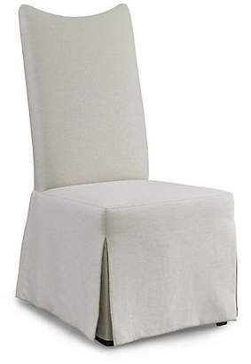 Hickory White Laurel Skirted Side Chair - White Linen