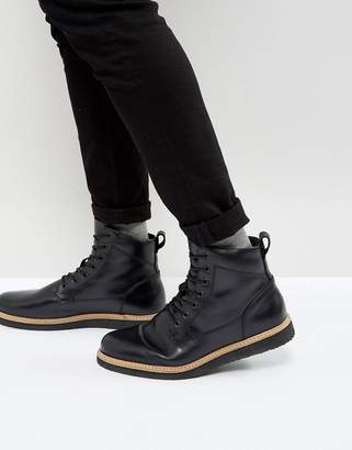Zign Shoes Leather Wedge Lace Up Boots