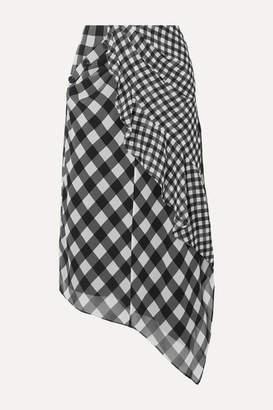 Self-Portrait Asymmetric Draped Gingham Chiffon Midi Skirt - Black