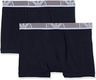 Emporio Armani Intimates Men's Knit 2 Pack Plain Boxer Shorts, Blue (Marine/Marine), X-Large
